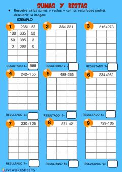 Interactive worksheet Suma y resta (ABN)