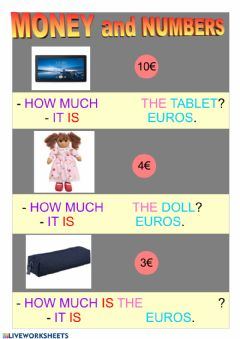 Interactive worksheet Money and numbers