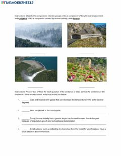 Interactive worksheet Natural Science 5th Grade ESL - People and the environment