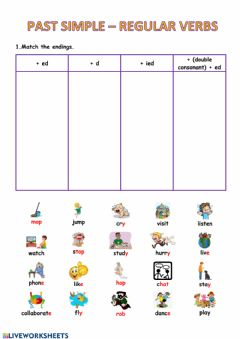Interactive worksheet Regular verbs Past Simple
