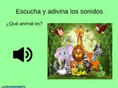 Ficha interactiva Descriminación auditiva: animales