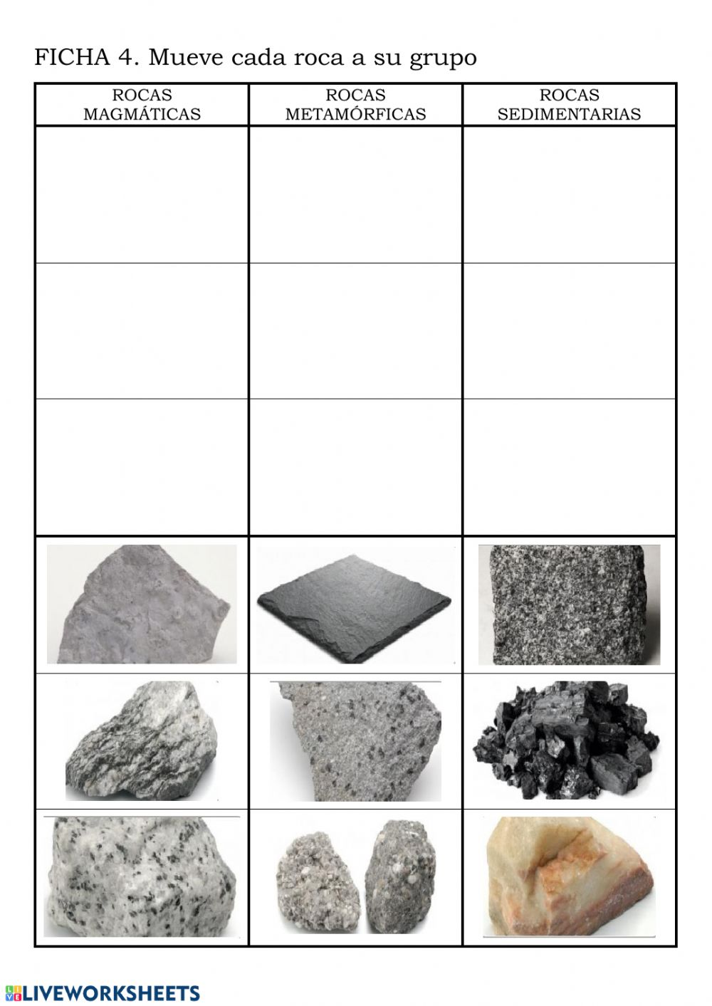 Tipos De Rocas Worksheet