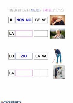 Interactive worksheet Trasforma la frase