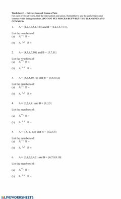Interactive worksheet Intersection and Union of Sets