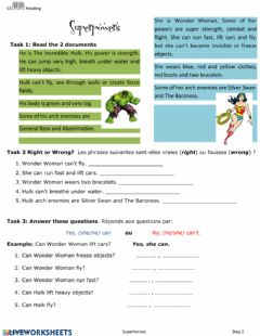 Interactive worksheet Reading superpowers
