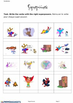 Interactive worksheet Vocabulary superpowers