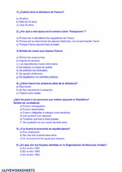 Interactive worksheet El Franquismo