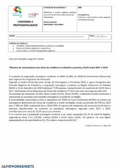 Interactive worksheet Identidade e Alteridade