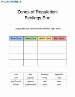 Ficha interactiva Zones of Regulation: Emotions Sort