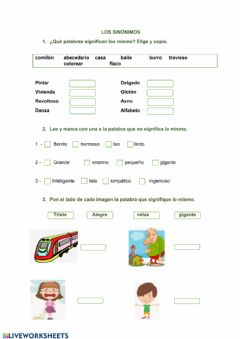 Interactive worksheet Sinónimos 2