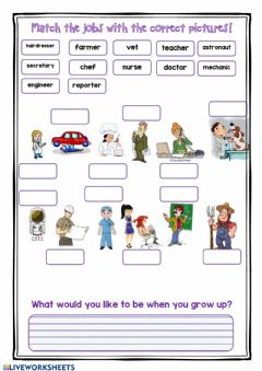 Interactive worksheet Match jobs with pictures!