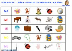 Interactive worksheet Letra m: ficha 1