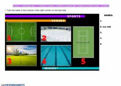 Interactive worksheet Sports, sports actions, sports equipment and sports venues