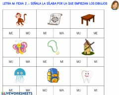 Interactive worksheet Letra m: ficha 2