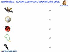 Interactive worksheet Letra m: ficha 3