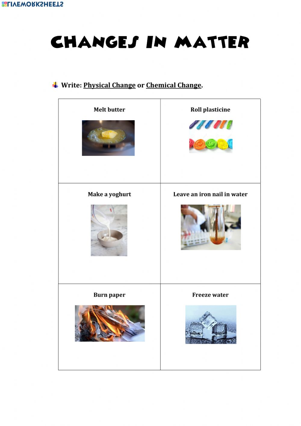 Physical and Chemical Changes online worksheet