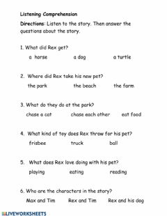 Interactive worksheet Listening Comprehension