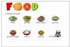 Ficha interactiva Food: Order the letters.
