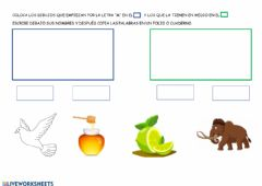 Interactive worksheet Letra m