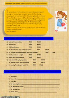 Interactive worksheet Reading comprehension: Susie and her friends