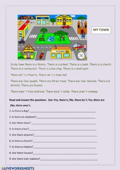 Interactive worksheet My town, there is, there are