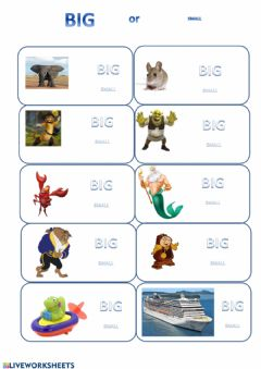 Interactive worksheet Big or Small