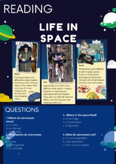 Interactive worksheet READING: Life in space