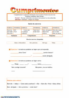 Interactive worksheet Cumprimentos