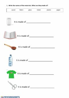 Interactive worksheet What are they made of?