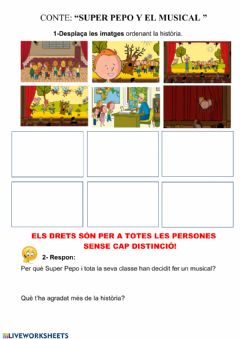 Interactive worksheet Conte : super pepo y el musical