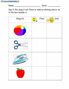 Interactive worksheet Sinking and Floating