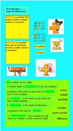 Interactive worksheet Math definitions