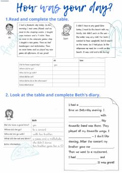 Interactive worksheet Reading:past simple