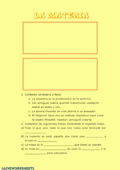 Interactive worksheet Introducción a la Materia