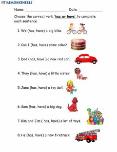 Ficha interactiva Verbs: has or have