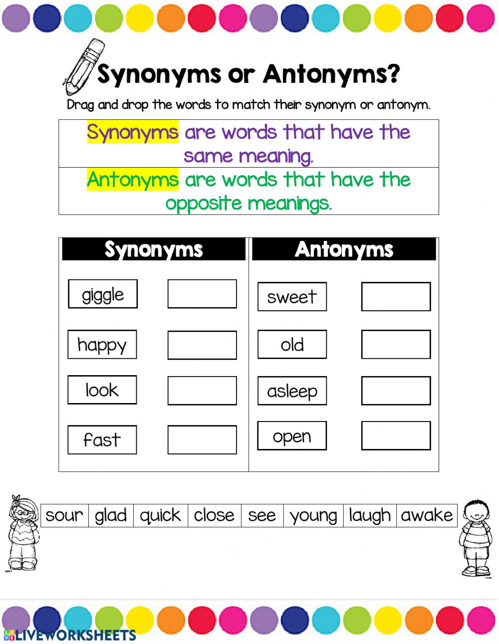 synonyms or antonyms   Interactive worksheet
