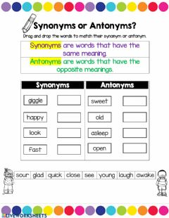 Ficha interactiva synonyms or antonyms