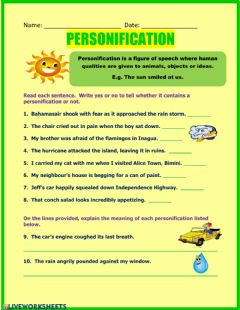 Interactive worksheet Personification