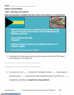 Interactive worksheet Choosing a Government
