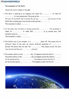 Ficha interactiva Movements of the Earth.