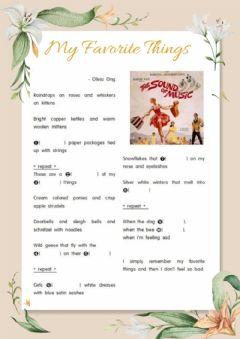 Interactive worksheet 1과  My Favorite Things