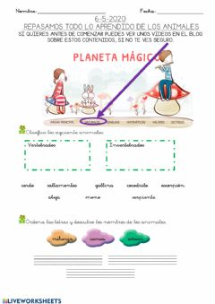 Interactive worksheet Hoja 8: REPASO animales vertebrados e invertebtrados 6-5