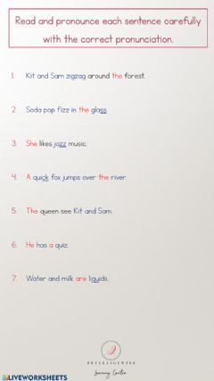 Interactive worksheet Phonics Reading ('qu' and 'z)