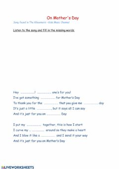 Interactive worksheet On Mother's Day