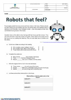 Interactive worksheet Future will reading comprehension