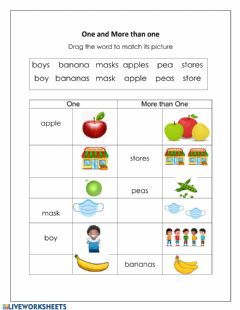 Interactive worksheet Add 's' Plural