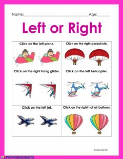 Interactive worksheet Left or Right