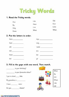 Interactive worksheet Tricky words- green level
