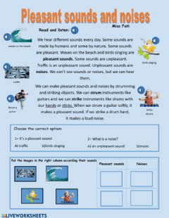 Interactive worksheet Pleasant sounds and noises