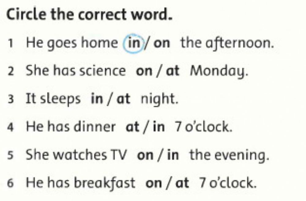 Prepositions Of Time Exercise For Grade 3